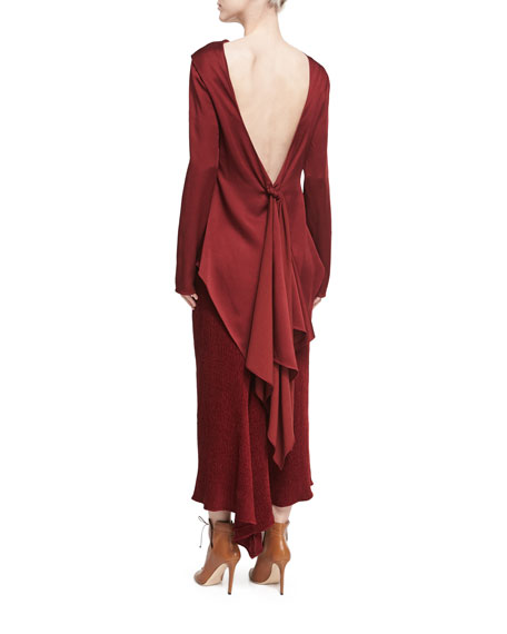 Satin Draped Tie-Back Top, Dark Red
