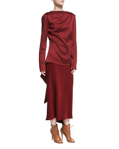 Chenille Godet-Back Midi Skirt, Dark Red and Matching Items