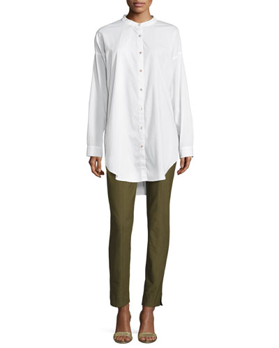 Mandarin-Collar Stretch-Lawn Button-Front Shirt, Petite and Matching Items