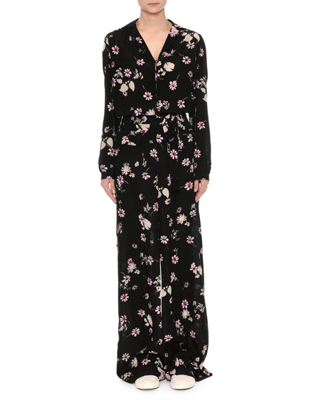 Floral-Print Silk Pajama Top, Black