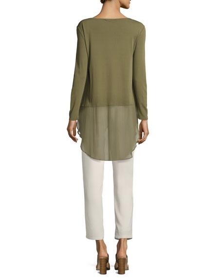 Long-Sleeve Silk Jersey Tunic w/ Sheer Layer