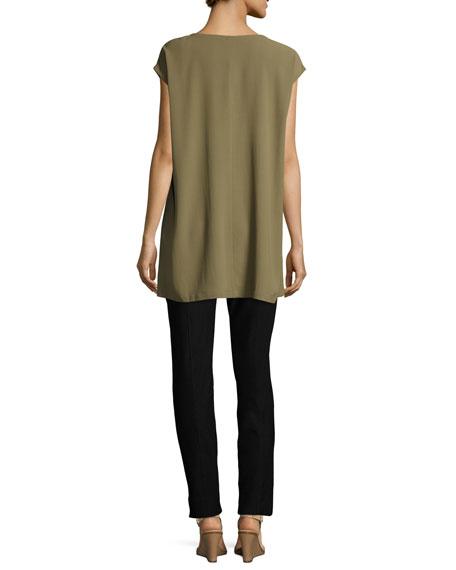 V-Neck Silk Georgette Crepe Tunic w/ Pockets