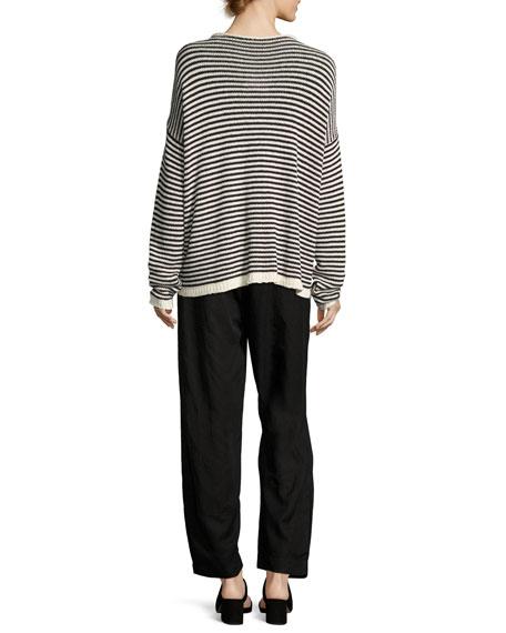 Cozy Striped Box Top, Soft White/Black