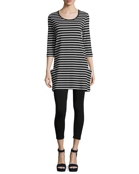 Petite Striped Cotton Interlock Tunic, Black/White