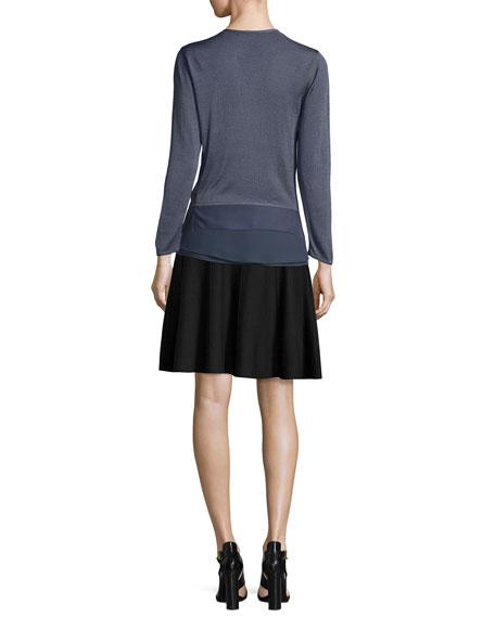 Long-Sleeve Knit Cardigan W/ Chiffon Trim