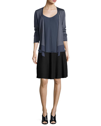 Long-Sleeve Knit Cardigan W/ Chiffon Trim and Matching Items