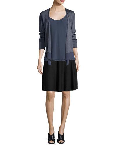 Long-Sleeve Knit Cardigan W/ Chiffon Trim and Matching Items, Plus Size