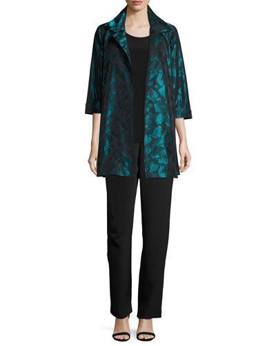 Silk Crepe Straight-Leg Pants and Matching Items, Plus Size