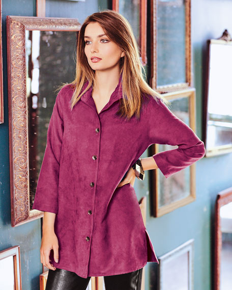 Modern Faux-Suede Long Shirt, Plus Size