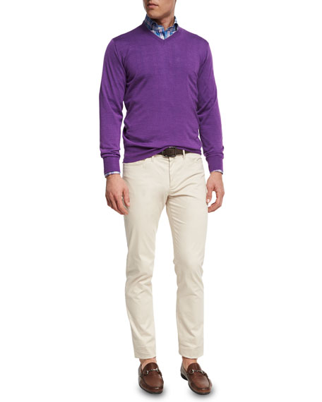 Merino Wool-Silk V-Neck Sweater