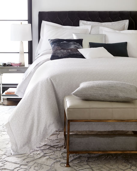 King Layered Feathers Jacquard Duvet Cover