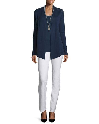 Silk Organic Cotton Open Cardigan, Midnight, Petite and Matching Items