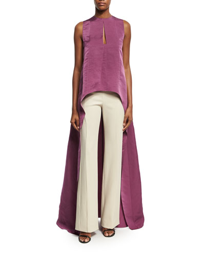 Contour-Yoke Virgin Wool Straight-Leg Pants and Matching Items