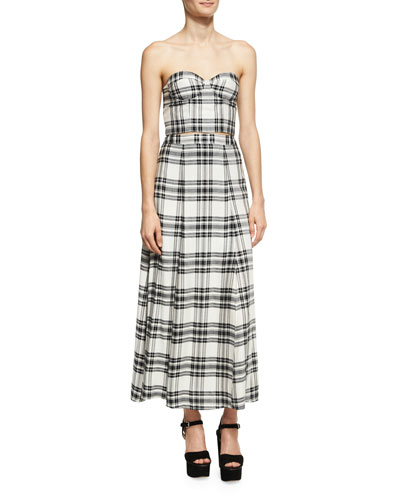 Athena Double Slit Plaid Maxi Skirt, White/Black and Matching Items