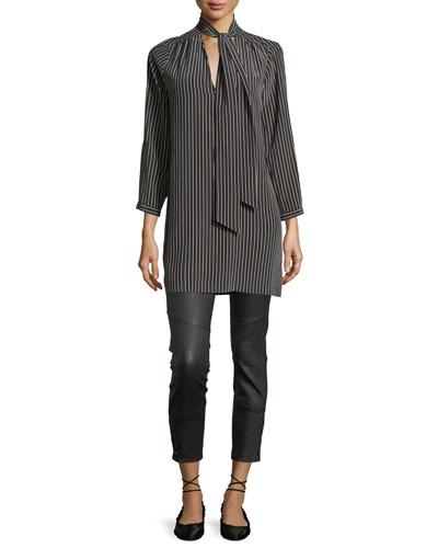 Warley Striped Silk Mini Dress, Black and Matching Items
