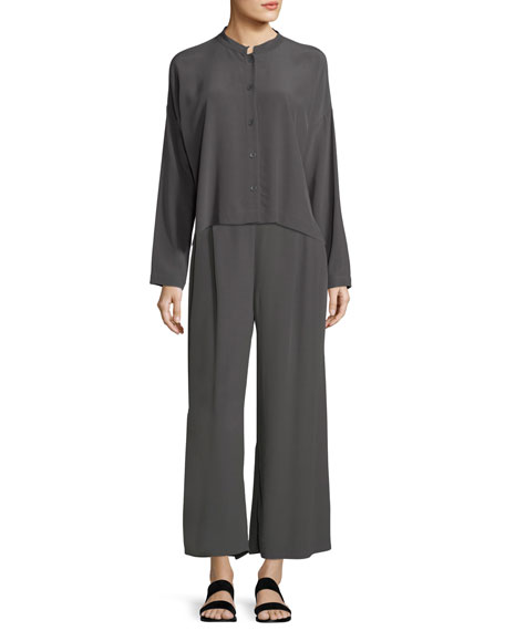 Long-Sleeve Mandarin-Collar Crinkle Crepe Box Top, Petite