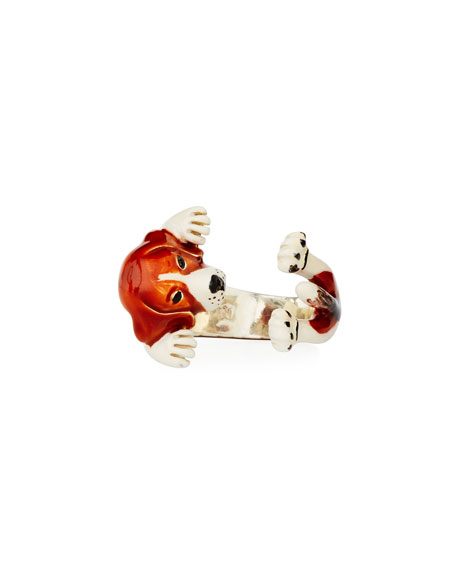 Dog Fever Beagle Enameled Dog Hug Ring, Size 8