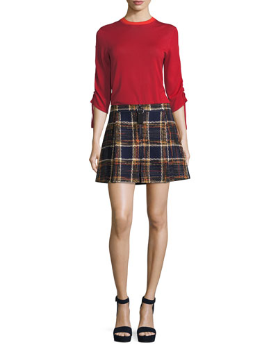 Quarter-Zip Plaid Tweed Mini Skirt and Matching Items