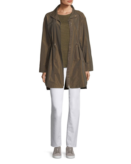 Short-Sleeve Open-Stitch Sequin Cashmere Sweater