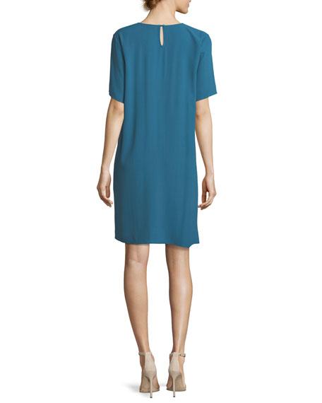 Crinkle Crepe Round-Neck Short-Sleeve Dress, Plus Size