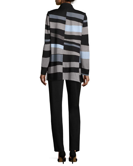 Solid Borders Striped Long-Sleeve Jacket