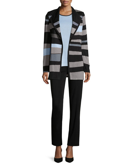 Solid Borders Striped Long-Sleeve Jacket, Plus Size