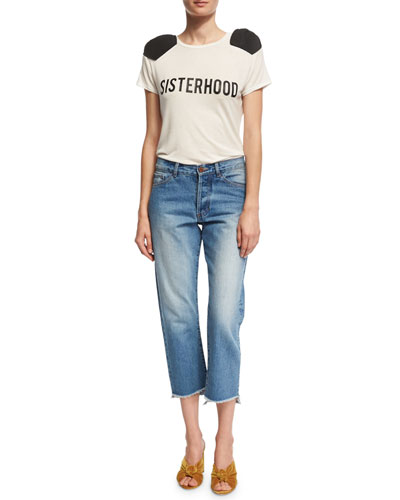 Moravia Cropped Boyfriend Jeans with Staggered Hem and Matching Items
