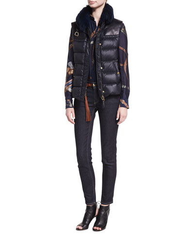 Taryn Leather-Trim Down Vest with Fur Collar and Matching Items