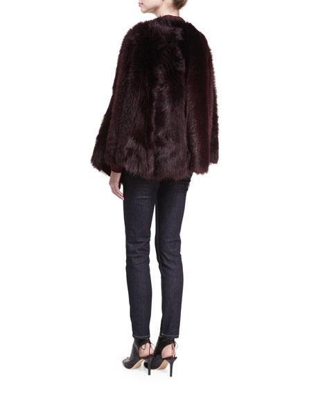 Lamb Shearling Fur & Leather Poncho