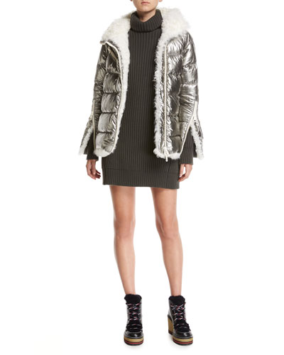 Lirio Quilted Metallic Puffer Coat W/ Shearling and Matching Items