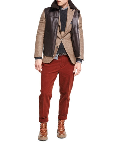 Corduroy Flat-Front Pants and Matching Items