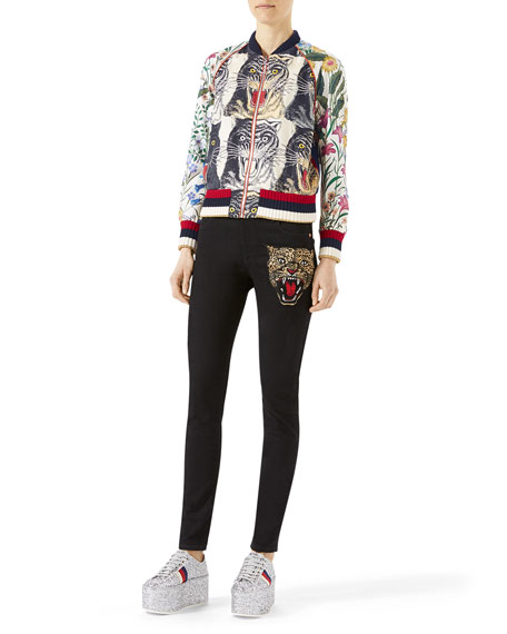 Patchwork Print Silk Bomber, Multicolor