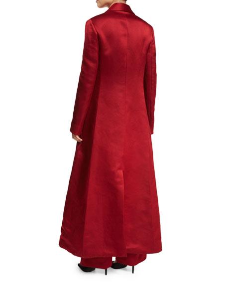 Neyton Long Silk Satin Coat