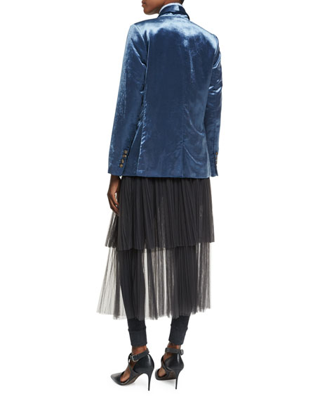 Velvet Shawl-Collar Blazer with Monili Chains, Blue