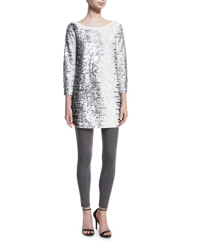 Sequined Boat-Neck 3/4 Sleeve Tunic, Petite   and Matching Items