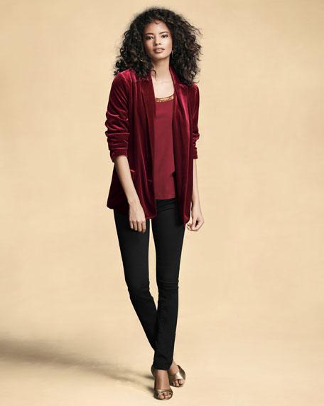 Stretch-Velvet Two-Button Blazer, Plus Size