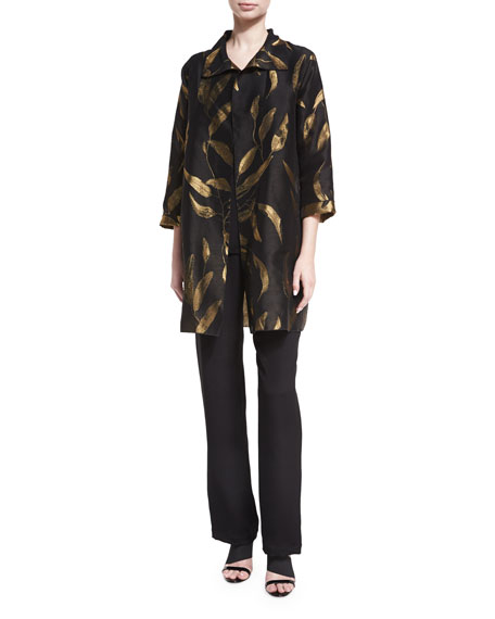 Gold-Leaf Jacquard Party Jacket