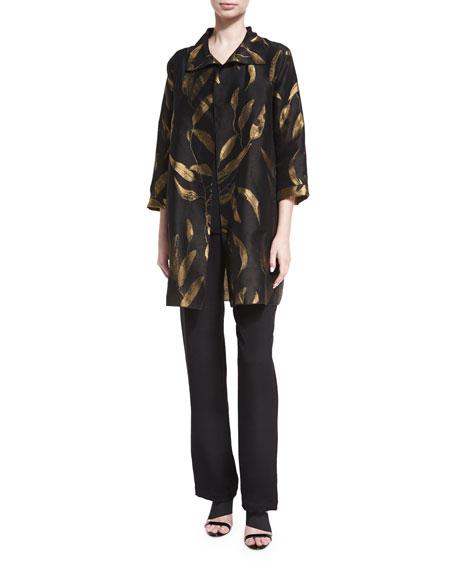 Gold Leaf Jacquard Party Jacket, Plus Size