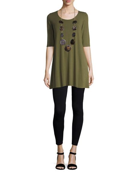 Half-Sleeve Silk Jersey Tunic