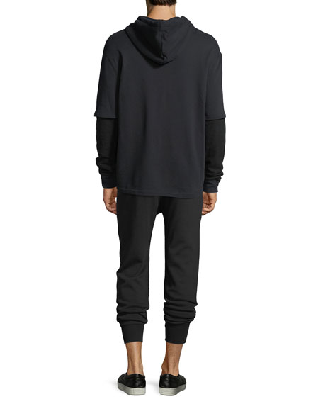 Double-Layer Waffle-Knit Hoodie