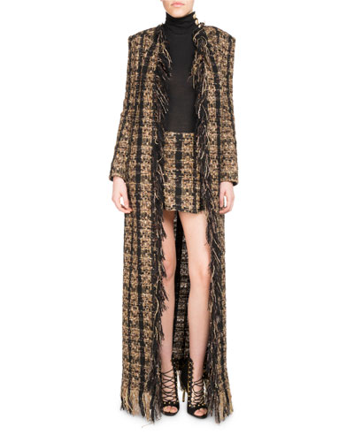 Tweed Floor-Length Belted Cardigan with Fringe and Matching Items