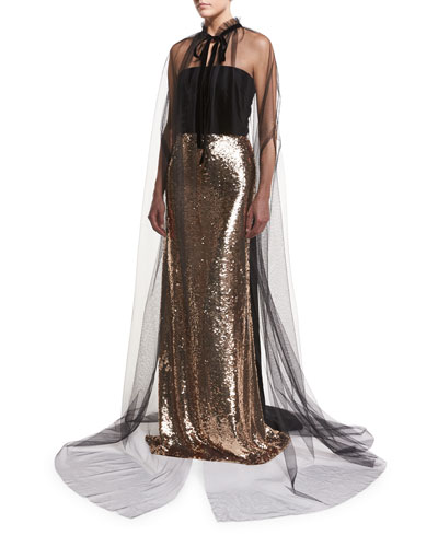 Strapless Velvet Sequined Column Gown and Matching Items
