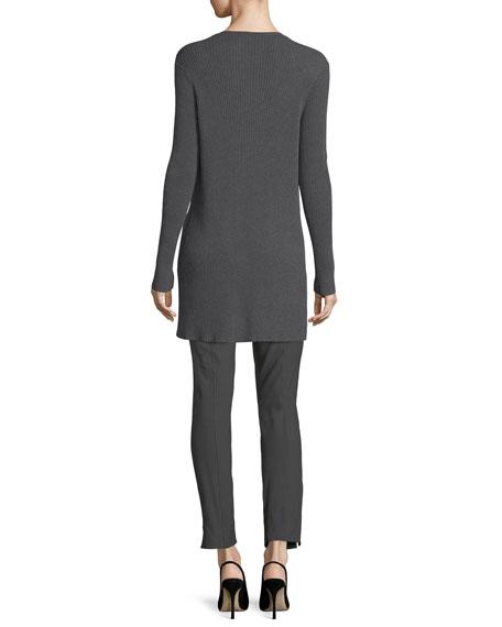 Long Straight Wool Crepe Cardigan