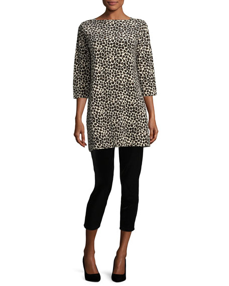 Leopard-Print Velour 3/4-Sleeve Tunic