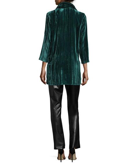 Long Crinkled Velvet Shirt, Plus Size