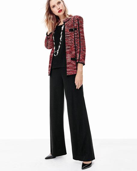 Boucle Mandarin-Collar Jacket, Plus Size