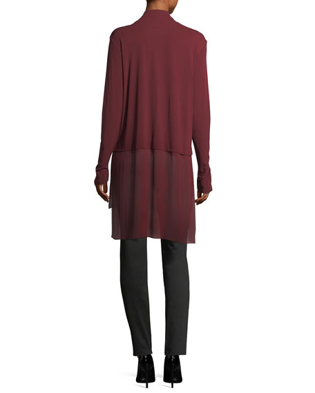 Mock-Neck Stretch Silk Jersey Layered Tunic