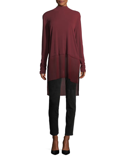 Mock-Neck Stretch Silk Jersey Layered Tunic and Matching Items