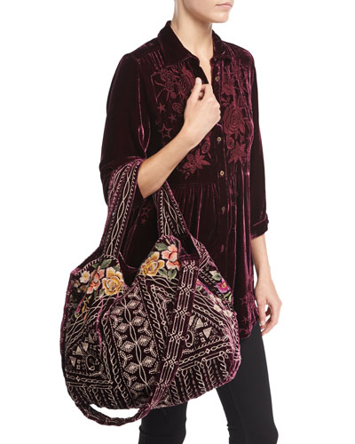 Flores Embroidered Velvet Tote Bag and Matching Items
