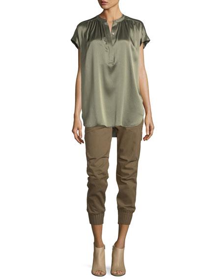 Short-Sleeve Shirred Satin Blouse